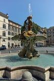RZYM WŁOCHY, CZERWIEC, - 22, 2017: Zadziwiający widok Triton fontanna przy piazza Barberini w Rzym Obrazy Royalty Free
