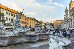 RZYM WŁOCHY, CZERWIEC, - 22, 2017: Zadziwiający zmierzchu widok piazza Navona w mieście Rzym Zdjęcie Royalty Free