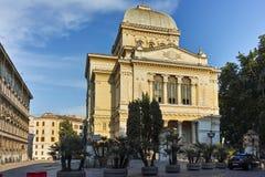 RZYM WŁOCHY, CZERWIEC, - 22, 2017: Zadziwiający zmierzchu widok synagoga w mieście Rzym Obrazy Stock