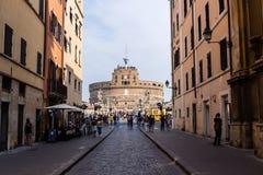 RZYM, WŁOCHY: OKOŁO 2016: Unikalny widok Castel Sant ` Angelo w Rzym, Włochy To jest odgórny atrakcja turystyczna obrazy stock