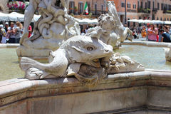 Rzym, Włochy, rzeźbiony szczegół fontanna Obraz Stock