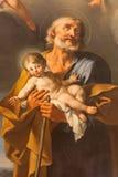 RZYM, WŁOCHY: St Joseph obraz A Milani (18 cent ) w kościelnej bazylice Di Santi Giovanni e Paolo Zdjęcia Stock