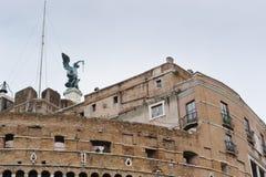 RZYM WŁOCHY, STYCZEŃ, - 27, 2010: statua Michael archanioł Zdjęcia Royalty Free