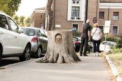 Rzym Włochy, Wrzesień, - 13, 2017: Twarz rzeźbił w fiszorek Rzeźbiarz Andrea Gandini rzeźbi twarze w ciących puszków drzewach zdjęcie stock