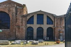 RZYM WŁOCHY, CZERWIEC, - 22, 2017: Fasada Santa Maria degli Angeli e dei Martiri w Rzym Obrazy Royalty Free