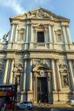 RZYM WŁOCHY, CZERWIEC, - 22, 2017: Zmierzchu widok Chiesa Sant Andrea della Valle w Rzym Fotografia Stock