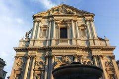 RZYM WŁOCHY, CZERWIEC, - 22, 2017: Zmierzchu widok Chiesa Sant Andrea della Valle w Rzym Fotografia Royalty Free