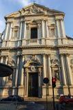 RZYM WŁOCHY, CZERWIEC, - 22, 2017: Zmierzchu widok Chiesa Sant Andrea della Valle w Rzym Zdjęcia Stock