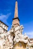Rzym, Włochy - Egipski obelisk w piazza Navona Zdjęcia Stock