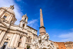Rzym, Włochy - Egipski obelisk w piazza Navona Zdjęcia Royalty Free