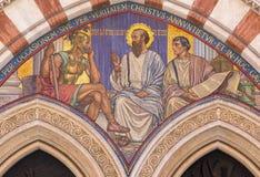 RZYM WŁOCHY, MARZEC, - 24, 2015: Mozaiki nauczanie St Paul w carcer George Breck & x28; 1909& x29; Zdjęcie Stock