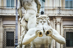 Rzym, widok piazza navona z Fontana Del Moro Zdjęcie Royalty Free
