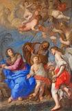 RZYM, WŁOCHY: Święta rodzina z aniołami i symbolami pasja w transepcie kościelny bazyliki Di Santa Maria del Popolo Zdjęcia Royalty Free