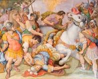 Rzym - zamiana st Paul freso G B Ricci od 16 cent w kościelnym Chiesa Di Santa Maria w Transpontina Fotografia Stock