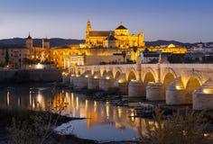 Rzymianin cordoba przy nocą i most Obrazy Royalty Free