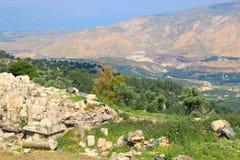 Rzymianin ruiny przy Qais w północnym Jordania blisko miejsca Umm obraz stock