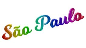 São Paulo City Name Calligraphic 3D framförde textillustrationen färgad med RGB-regnbågelutning Arkivfoton