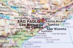São Paulo no mapa Imagens de Stock Royalty Free