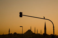 Süleymaniye Mosque silhouetted at sunset, Istanbul Stock Images
