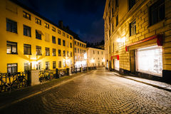 Södra Benickebrinken przy nocą, w Galma Stan, Sztokholm, Szwecja Obraz Royalty Free