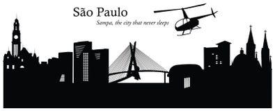 São Paulo pejzażu miejskiego linii horyzontu wektoru ilustracja Ilustracja Wektor