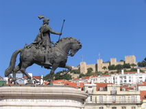 São Jorge - Lisbon. São Jorge, Lisbon in a plaza with the castle in the back Royalty Free Stock Photography