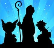 São Nicolau, diabo e Angel Silhouette Vetora ilustração royalty free