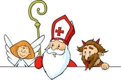 São Nicolau, diabo e anjo espreitando para fora atrás da superfície do branco - vetor ilustração royalty free