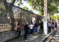 SÃO PAULO, BRAZIL, May 2019: Brazilians  the Consulate General of the United States of America in the city of Sao Paulo. SÃO PAULO, BRAZIL, May 2019 royalty free stock image