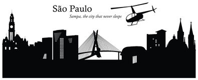 São Paulo cityscape skyline vector illustration. Vector illustration of São Paulo Brazil cityscape skyline in black and white silhouette Stock Photography