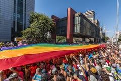 São Paulo LGBT Pride Parade 2014. Paulista Avenue - São Paulo - Brazil royalty free stock photos