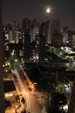 São Paulo by Moonlight. A night shot of São Paulo, Brazil, with a full moon Stock Images