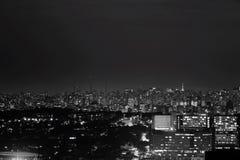 São Paulo at night. Light city , black and white royalty free stock photo