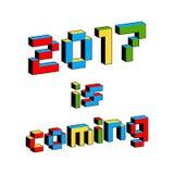 2017 são texto de vinda no estilo de jogos de vídeo de 8 bits velhos Letras coloridas vibrantes do pixel 3D Molde do inseto do ca Fotografia de Stock