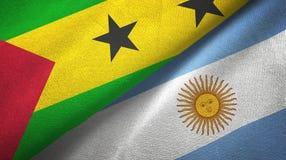 São Tomé och Príncipe och Argentina två flaggor royaltyfri illustrationer
