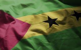 São Tomé and Príncipe Flag Rumpled Close Up.  royalty free stock images