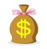 Säck av dollar med en rosa pilbåge, vektor Arkivbilder