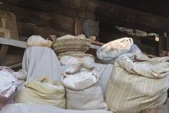 Säckar av mjöl Arkivbild