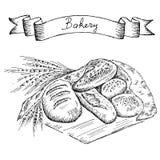 Sädes- bröd, torra bisquits och smällare i textilportionkorg Arkivfoton