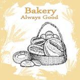 Sädes- bröd, torra bisquits och smällare i textilportionkorg Arkivbilder
