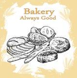 Sädes- bröd, torra bisquits och smällare i textilportionkorg Arkivfoto
