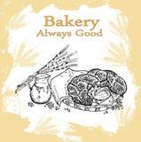 Sädes- bröd, torra bisquits och smällare i textilportionkorg Royaltyfria Bilder