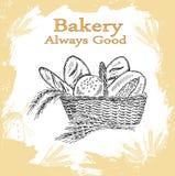 Sädes- bröd, torra bisquits och smällare i textilportionkorg Royaltyfria Foton