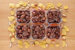 Sädes- choklad som är hemlagad med blandade mutteringredienser arkivfoto