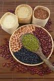 Sädes- korn och fröbönor som är användbara för hälsa i wood skedar på vit bakgrund Fotografering för Bildbyråer