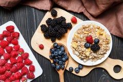 sädesslag Frukost med mysli och bär Bästa sikt, lekmanna- lägenhet royaltyfri bild