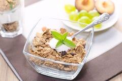 Sädesslag i en bunke med yoghurten, mintkaramell, frukt Fotografering för Bildbyråer