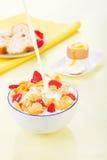 sädesslaghavreflakes mjölkar jordgubbar arkivfoton