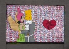 Säg att jag älskar dig väggväggmålningen av Preston Pannek, djupa Ellum, Texas Arkivfoto