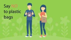 Säg inga plastpåsar planet sparar royaltyfri illustrationer